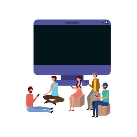 screen with people around avatar character vector illustration desing