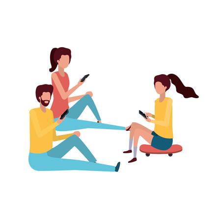 groep mensen met smartphone avatar karakter vector illustratie design Vector Illustratie