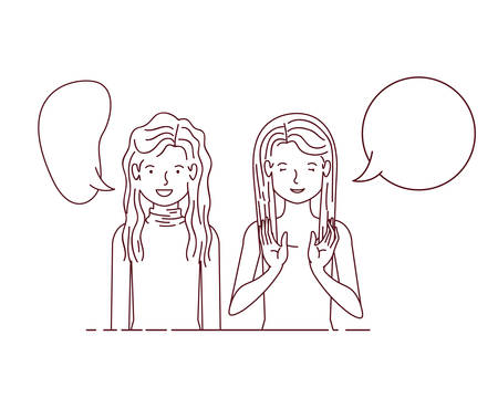 young women with speech bubble avatar character vector illustraon desing Illustration