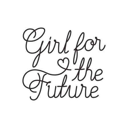 girl for the future label isolated icon vector illustration desing