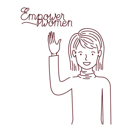 woman with label powerful girl avatar character vector illustration desing