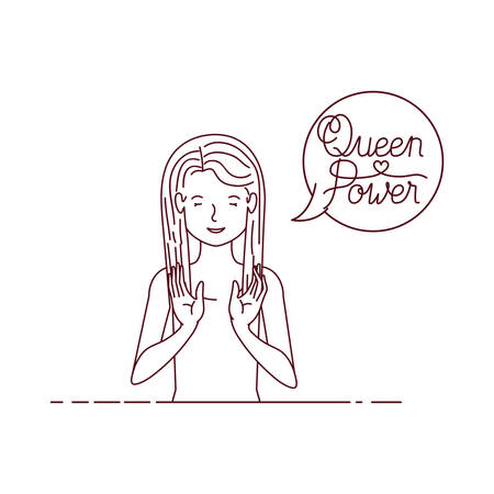 woman with label queen power avatar character vector illustration desing