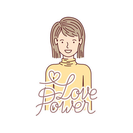 woman with label love power avatar character vector illustration desing