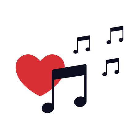 red heart with musical note isolated icon vector illustration desing