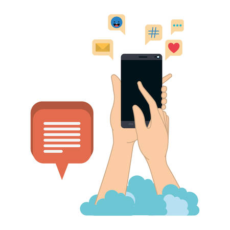 hands with smartphone isolated icon vector illustration design
