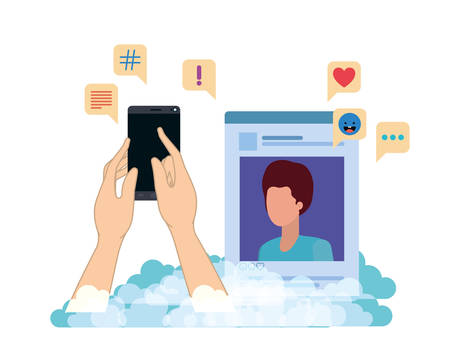 hands with smarthphone and social network profile avatar character vector illustration design