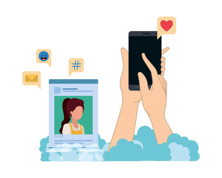 Manos con smarthphone y perfil de red social avatar ilustración Vectorial character design