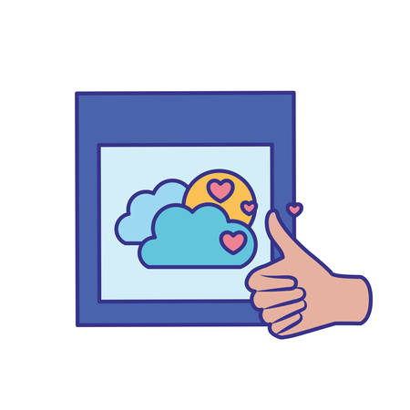 approval hands with picture isolated icon vector illustration design 向量圖像