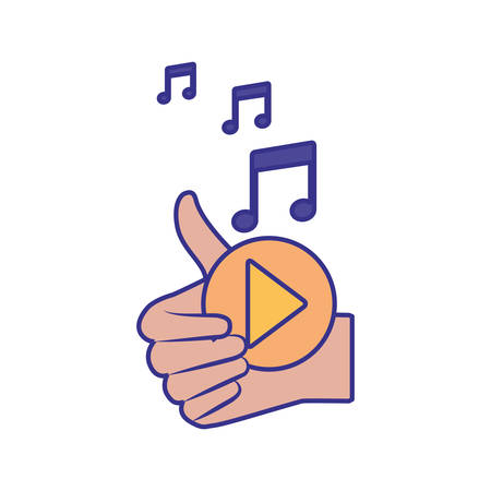 approval hands with play button isolated icon vector illustration design Иллюстрация