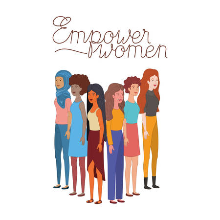 women with label powerful girl avatar character vector illustration desing