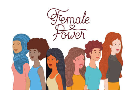 women with label female power character vector illustration desing