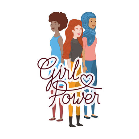 women with label girl power character vector illustration desing