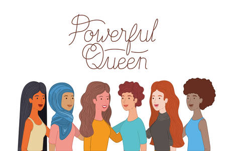 women with label powerful queen avatar character vector illustration desing