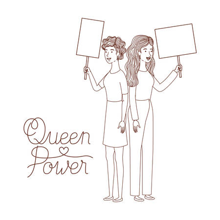 women with label queen power avatar character vector illustration desing