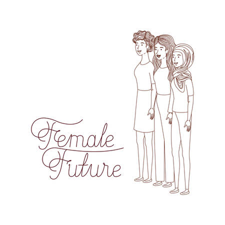 women with label female future avatar character vector illustration desing