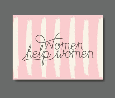 card with female help message hand made font vector illustration design