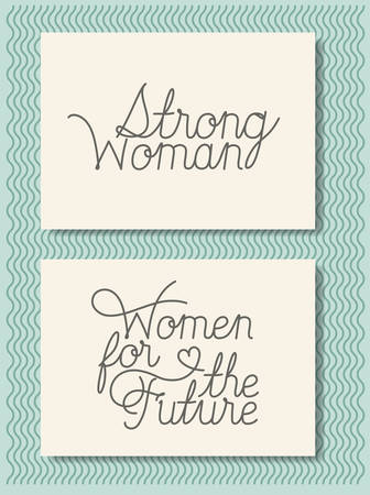 cards with feminist message hand made font vector illustration design