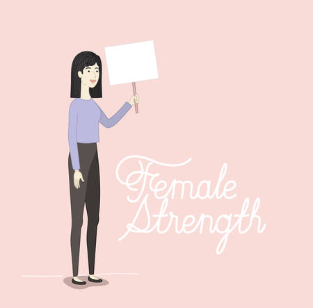 woman character with feminist message vector illustration design Illustration