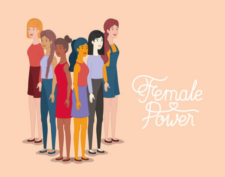 group of women characters with feminist message vector illustration design