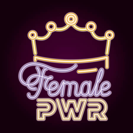 female power with neon light and queen crown vector illustration design Stock Illustratie