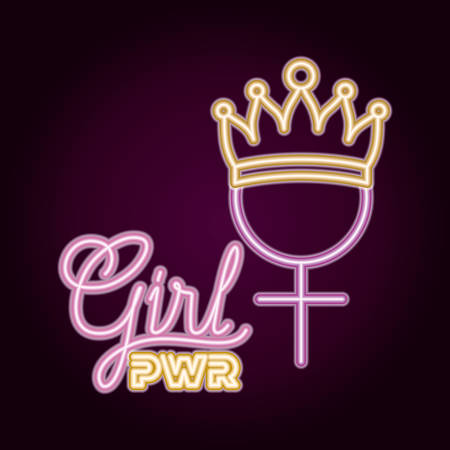 neon lights with female gender and crown