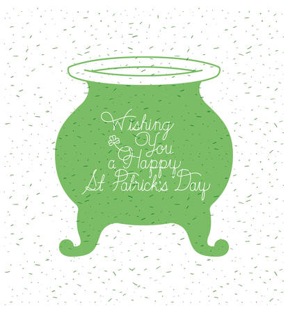 lemprechaun cauldron with st patrick font vector illustration design