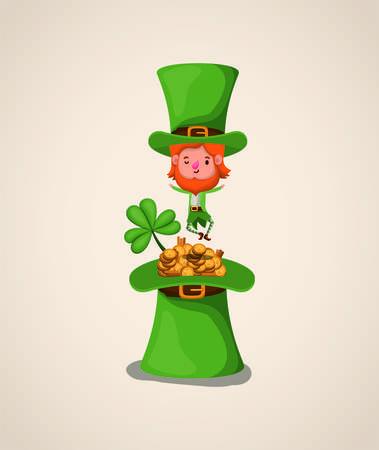 lemprechaun character with tophat saint patricks day vector illustration design Illustration
