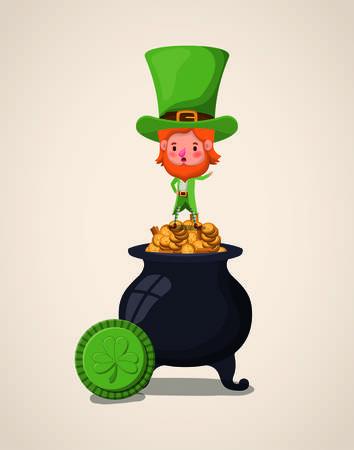 lemprechaun character with treasure cauldron saint patricks day vector design Illustration