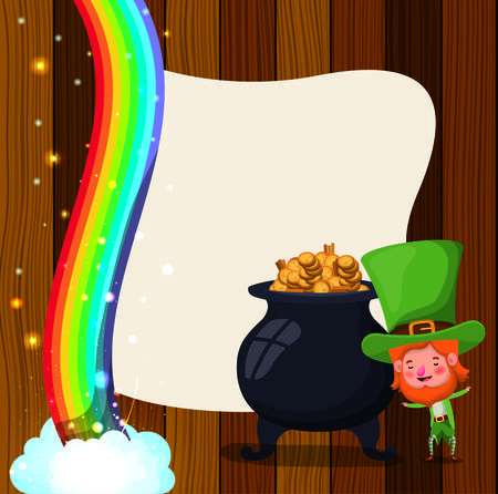 saint patricks day card with cauldron and lemprechaun vector illustration Vectores