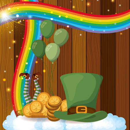 saint patricks day card with lemprechaun hat and wooden background vector
