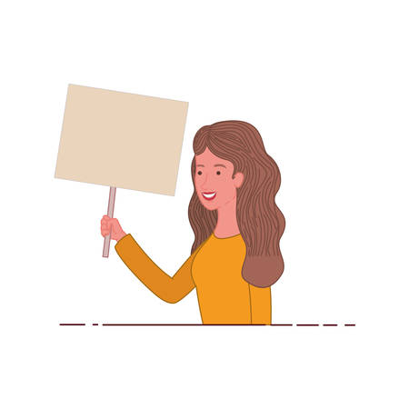 woman with tag of wood avatar character vector illustration desing