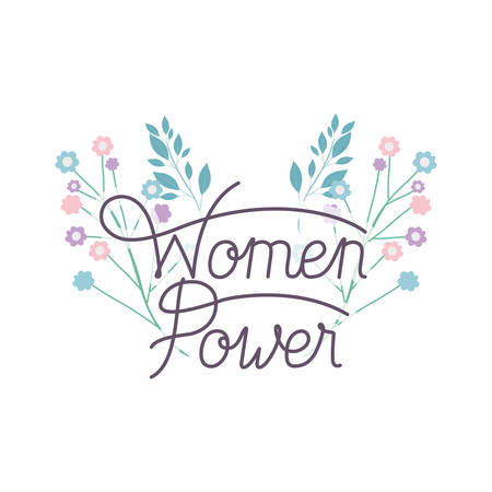 women power label with flower isolated icon vector illustration desing