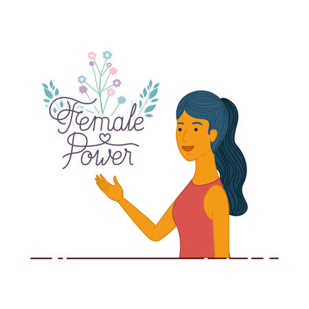 woman with label female power avatar character vector illustration desing