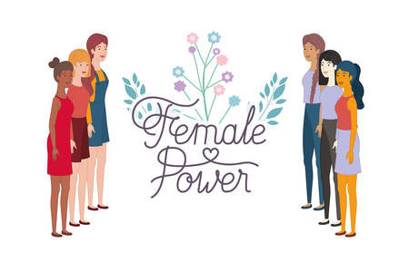 women with label female power avatar character vector illustration desing