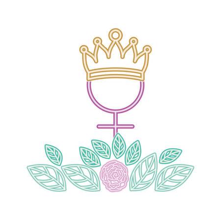 gender female symbol with crown vector illustration desing