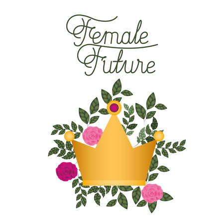 female future label with roses isolated icon vector illustration desing  イラスト・ベクター素材