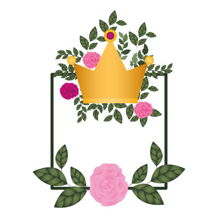 frame with flowers and crown isolated icon vector illustration desing Stock Illustratie