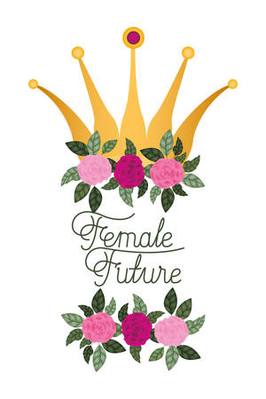 female future label with roses isolated icon vector illustration desing