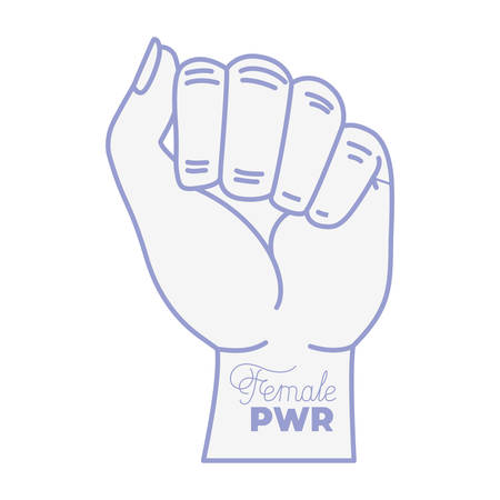 female power label with hand in fight signal icons vector illustration desing