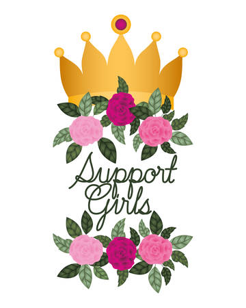 support girl label with roses isolated icon vector illustration desing