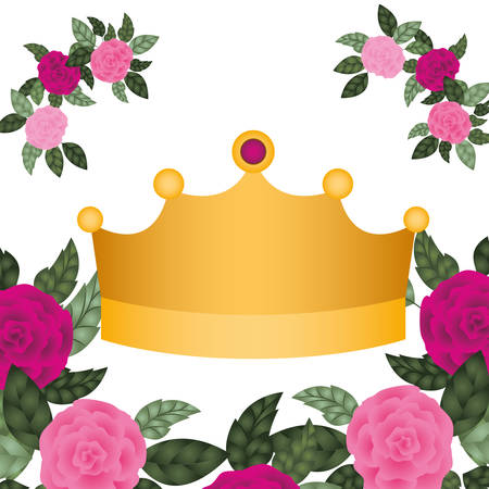 golden crown with roses isolated icon vector illustration desing