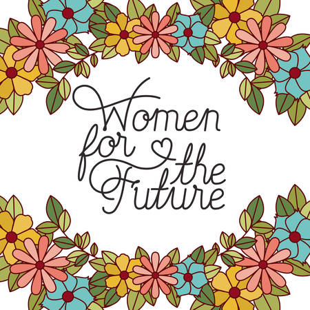 women for the future label with flowers frame icons vector illustration desing Illustration
