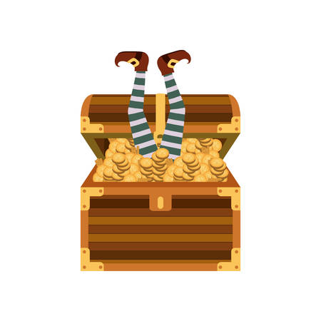 chest with coins isolated icon vector illustration desing