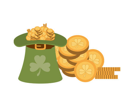 leprechaun hat with coins isolated icon vector illustration desing