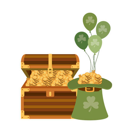chest with leprechaun hat isolated icon vector illustration desing Illustration