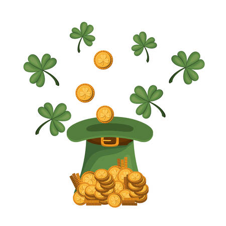 leprechaun hat with coins isolated icon vector illustration design