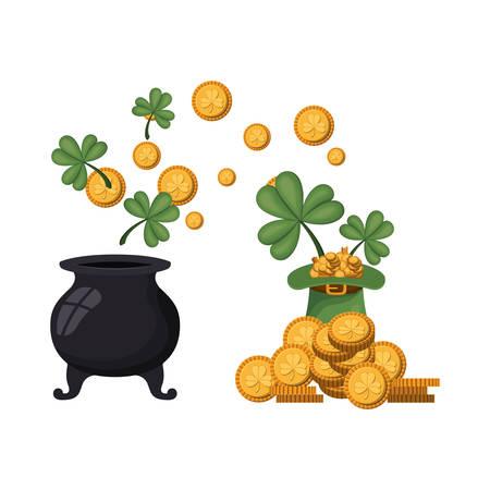 leprechaun cauldron with coins isolated icon vector illustration design