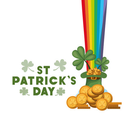 st patrick`s day label with coins and rainbow vector illustration desing