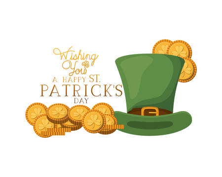 wishing you a happy st patrick`s day label with leprechaun hat vector illustration desing