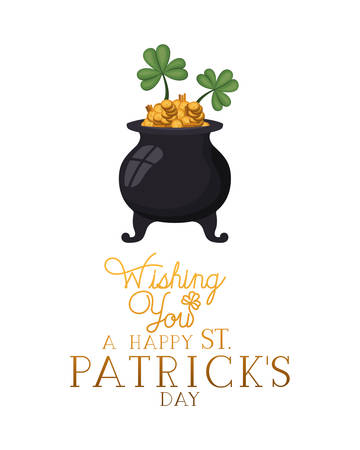 wishing you a happy st patrick`s day label with leprechaun cauldron vector illustration desing